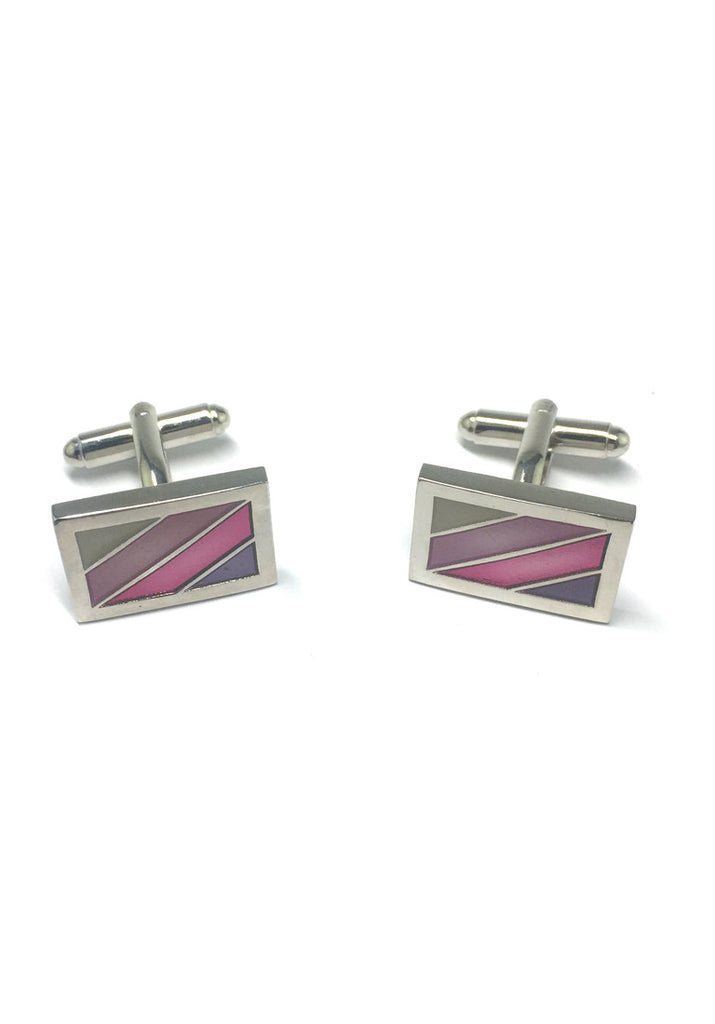 Purple, Pink and Green Stripes Rectangular Cufflinks