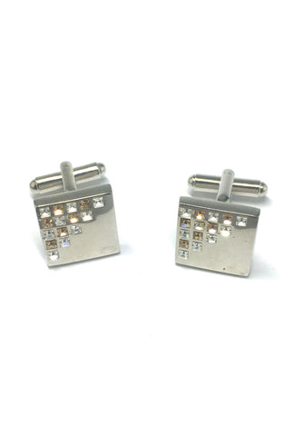 White and Yellow Crystals Patterned Square Cufflinks