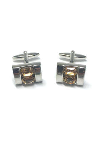 Yellow Crystals Inserts Cufflinks
