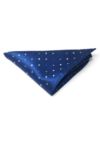Dollop Series Blue and White Spots Electric Blue Polyester Pocket Square