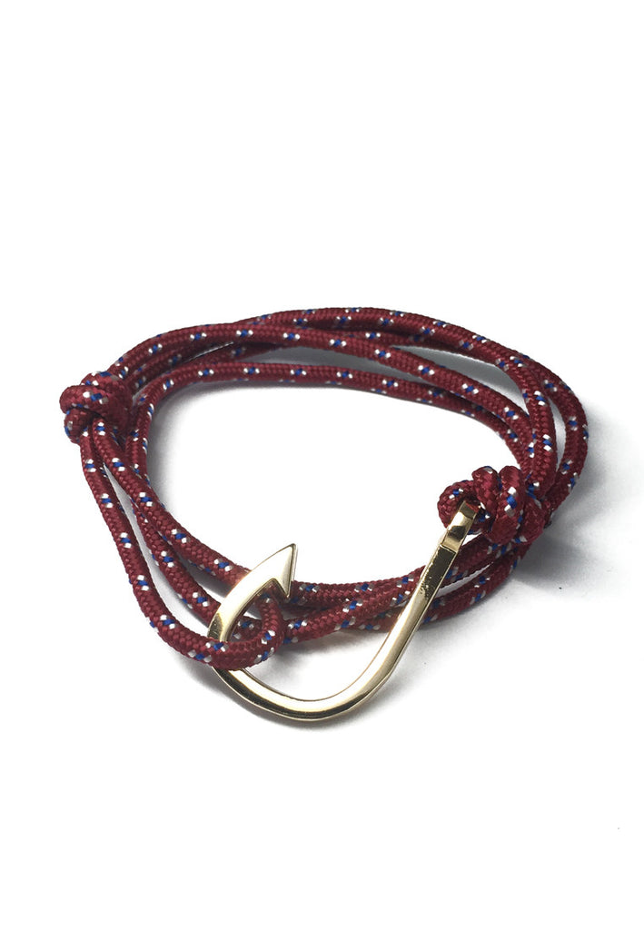 Angle Series Blue and White Spots Dark Red Polyester Strap Gold Fishing Hook Bracelet