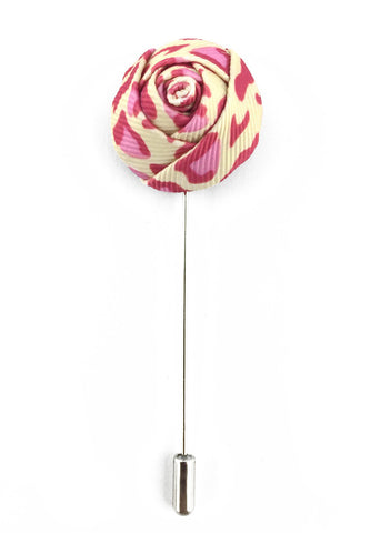 White & Pink Leopard Prints Fabric Rose Groom Lapel Pin