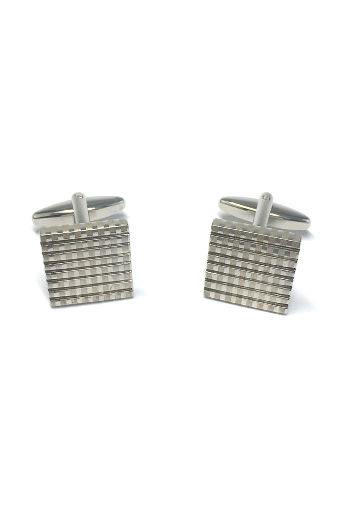 Silver Patterned Square Cufflinks