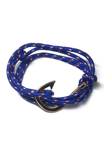 Angle Series Red and White Spots Blue Polyester Strap Gold Fishing Hook Bracelet