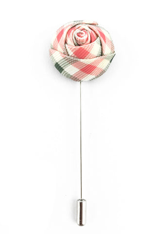 Pink & Grey Checked Design Fabric Rose Groom Lapel Pin