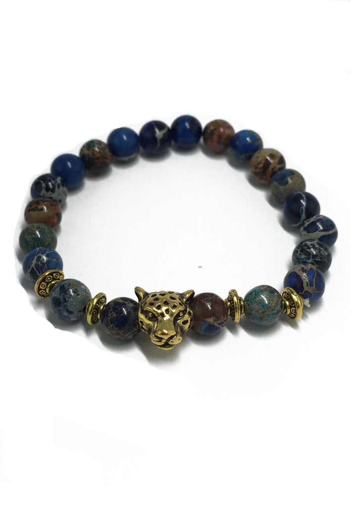 Masonry Series Mixed Colour Natural Stone Beads Gold Leopard Head Bracelet