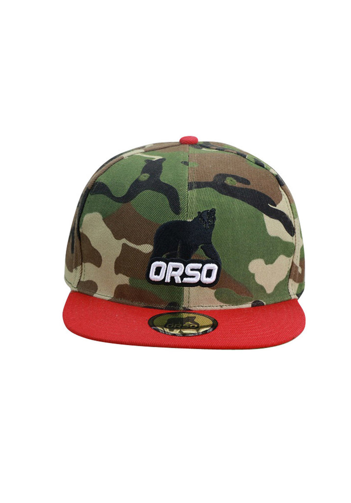 Orso Limited Edition Red Visor Army Camouflage Design Cotton Cap