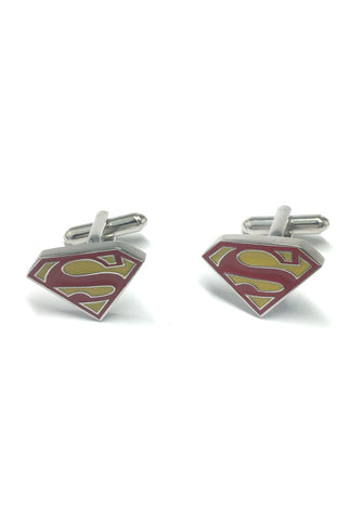 Yellow and Red Superman Badge Cufflinks