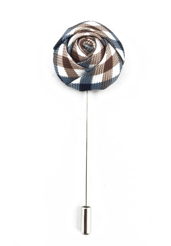 Blue, White & Brown Checked Design Fabric Rose Groom Lapel Pin
