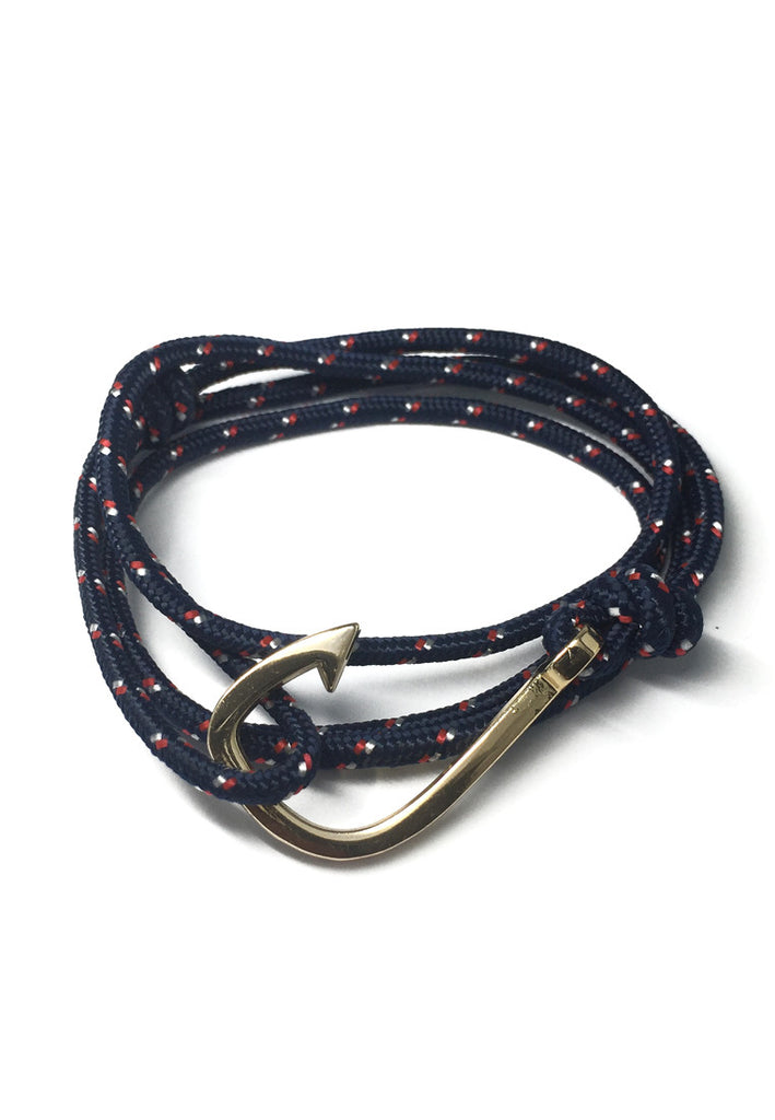 Angle Series Red and White Spots Navy Blue Polyester Strap Gold Fishing Hook Bracelet