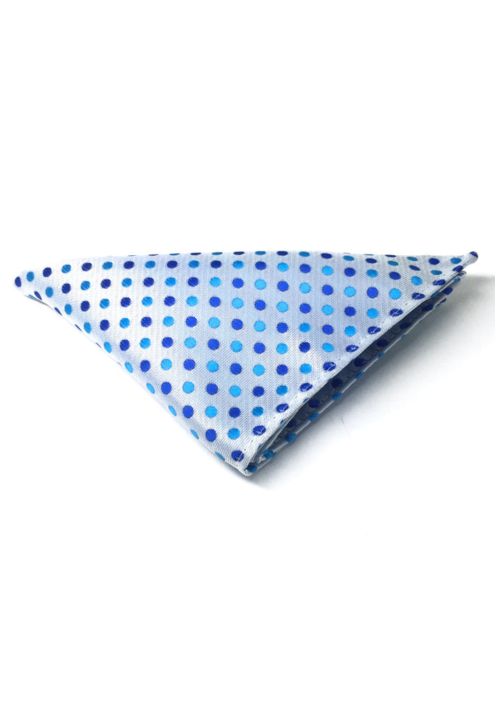 Dollop Series Turquoise and Blue Spots Blueish White Polyester Pocket Square