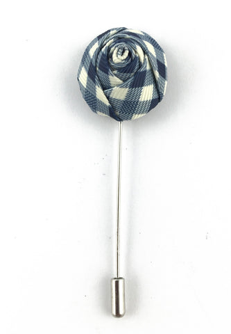 Blue & White Checked Design Fabric Rose Groom Lapel Pin