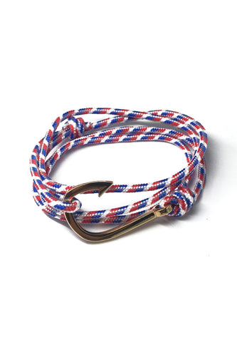 Angle Series Blue, Red and White Stripes Polyester Strap Gold Fishing Hook Bracelet