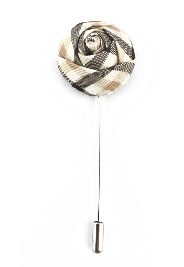 White & Brown Checked Design Fabric Rose Groom Lapel Pin