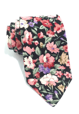 Featherweight Series Floral Design Black Cotton Tie