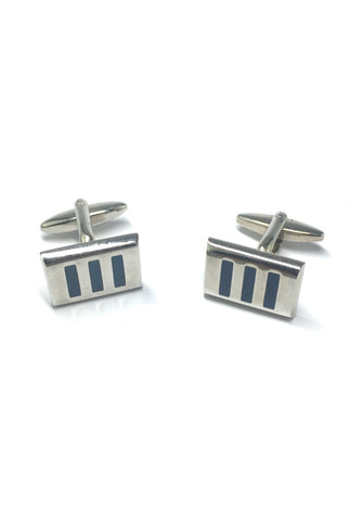 3 Blue Stripes Rectangular Cufflinks