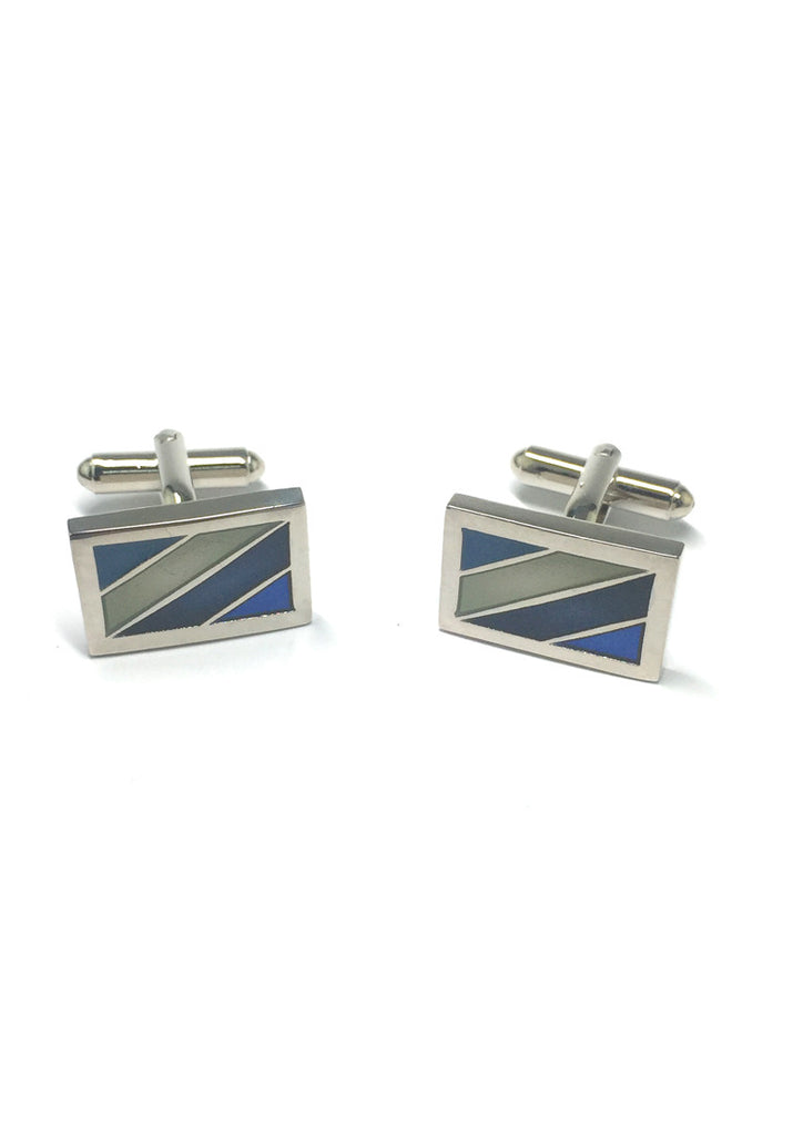 Blue, White and Navy Blue Stripes Rectangular Cufflinks