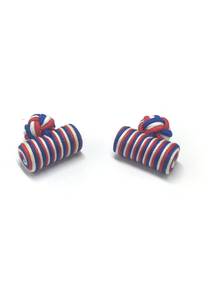 Blue, White & Red Cylinder Shape Silk Knot Style Cufflinks