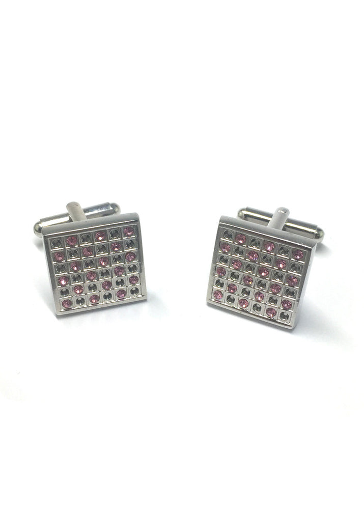 Pink and White Crystals Square Cufflinks