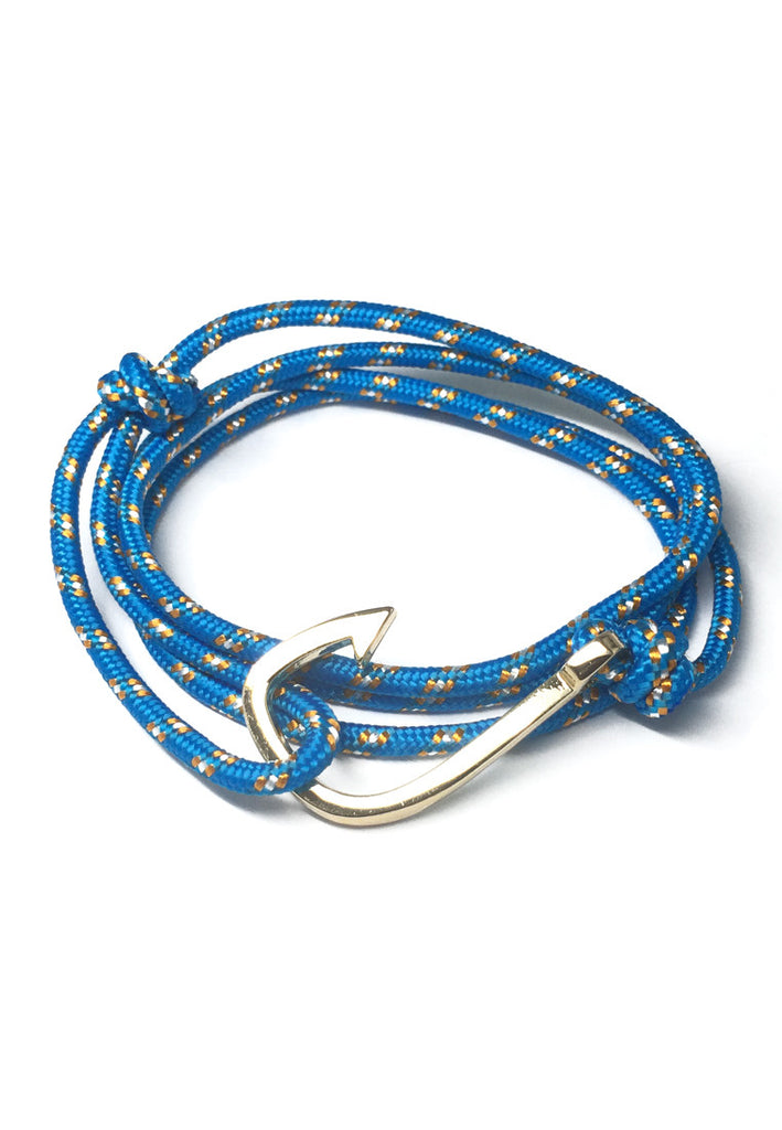 Angle Series Orange and White Spots Turquoise Blue Polyester Strap Gold Fishing Hook Bracelet