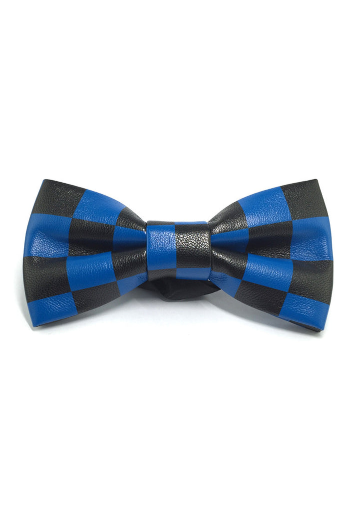 Fluky Series Black & Blue Checked Squares PU Leather Bow Tie