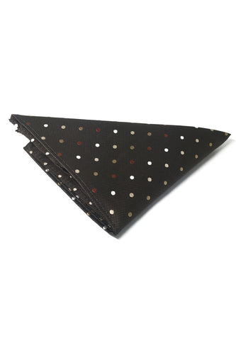 Dollop Series Brown and White Spots Dark Brown Polyester Pocket Square