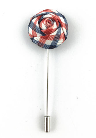 Red, Blue & White Checked Design Fabric Rose Groom Lapel Pin