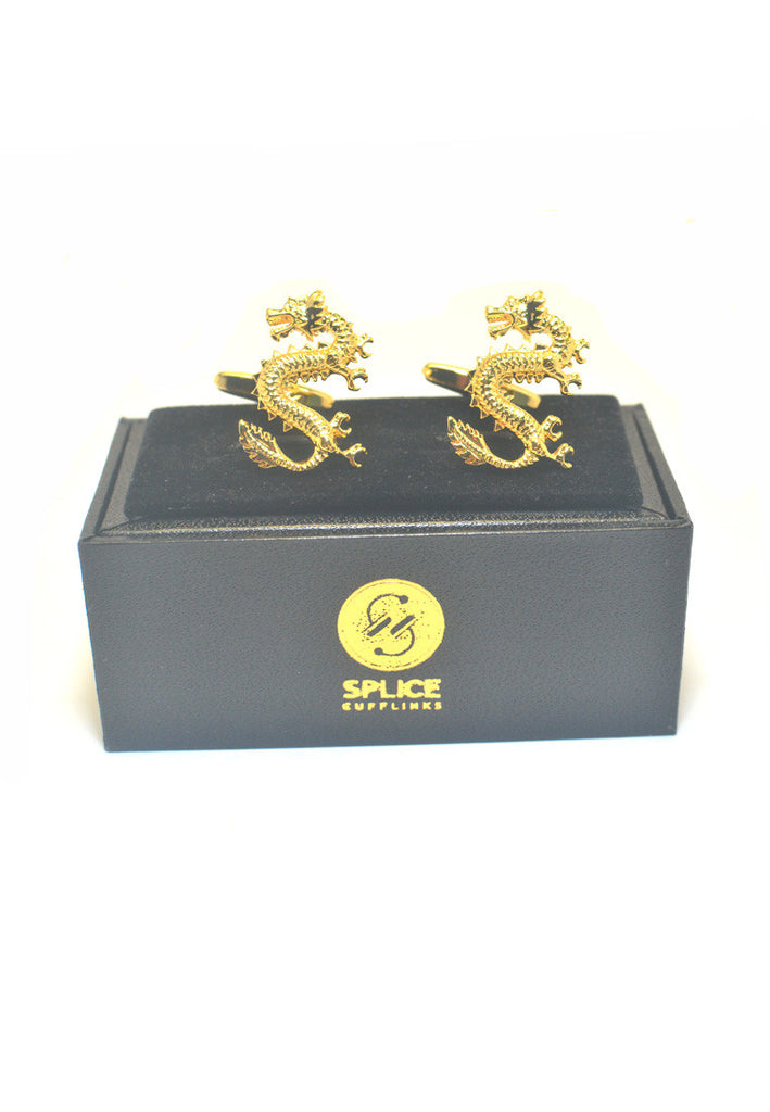 Golden Lucky Chinese dragon Cufflinks