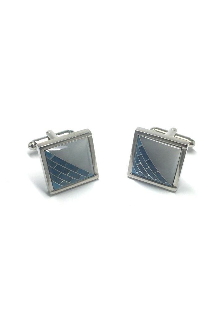 Patterned 3D Square Cufflinks