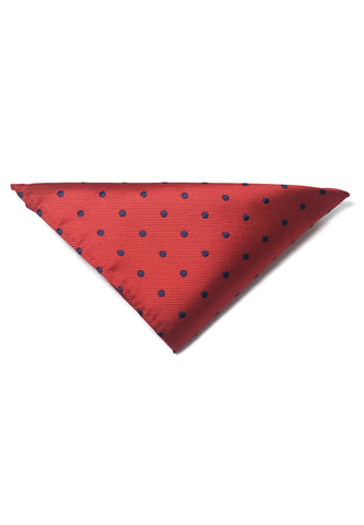 Dollop Series Black Spots Red Polyester Pocket Square