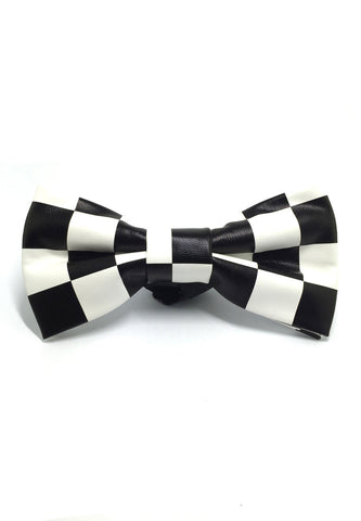 Fluky Series Black & White Checked Squares PU Leather Bow Tie