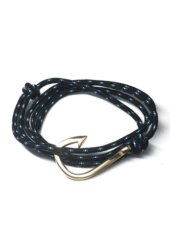 Angle Series Blue and White Spots Black Polyester Strap Gold Fishing Hook Bracelet