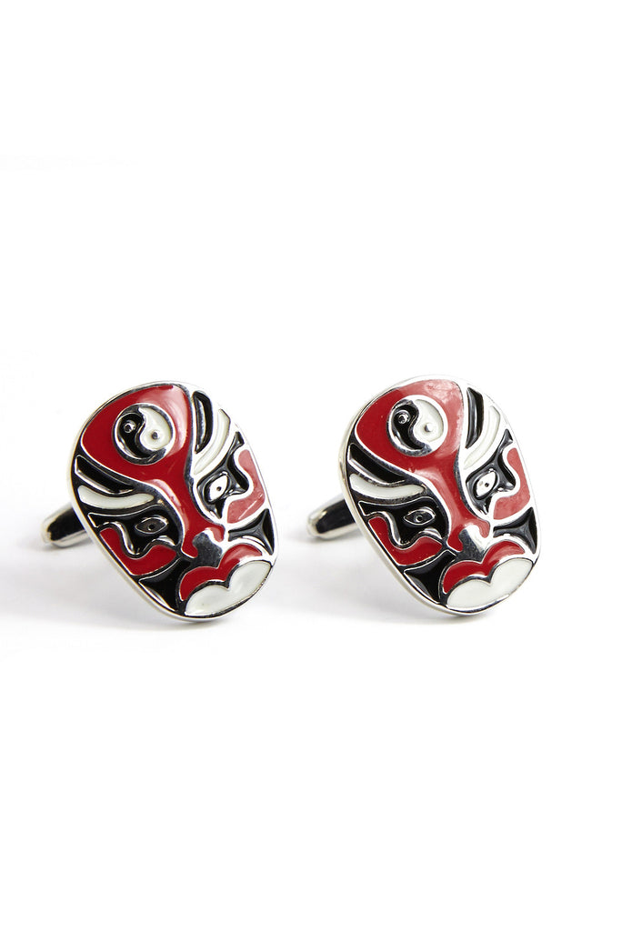 Peking Opera Mask Red Cufflinks