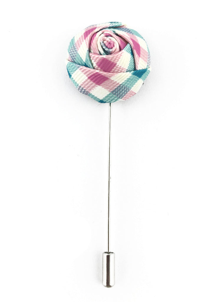 Turquoise, Pink & White Checked Design Fabric Rose Groom Lapel Pin