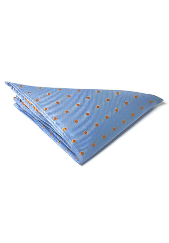 Dollop Series Orange Spots Sky Blue Polyester Pocket Square