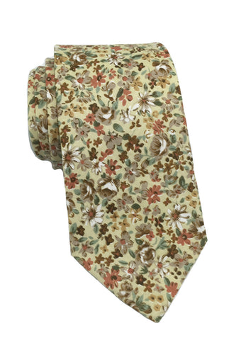 Featherweight Series Floral Design Beige Cotton Tie