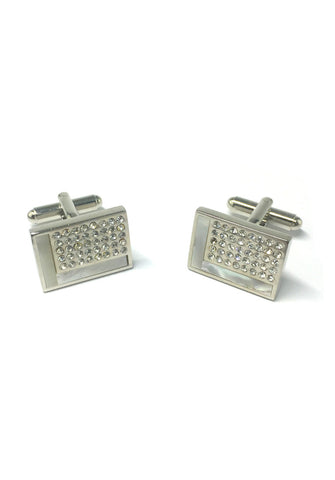 White L Design and Crystals Rectangular Cufflinks