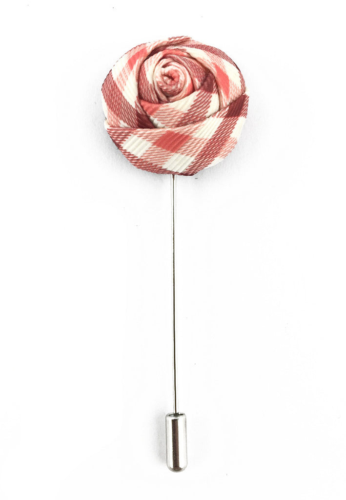 Pink, Red & White Checked Design Fabric Rose Groom Lapel Pin