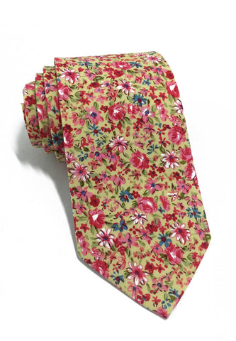 Featherweight Series Floral Design Yellow Cotton Tie