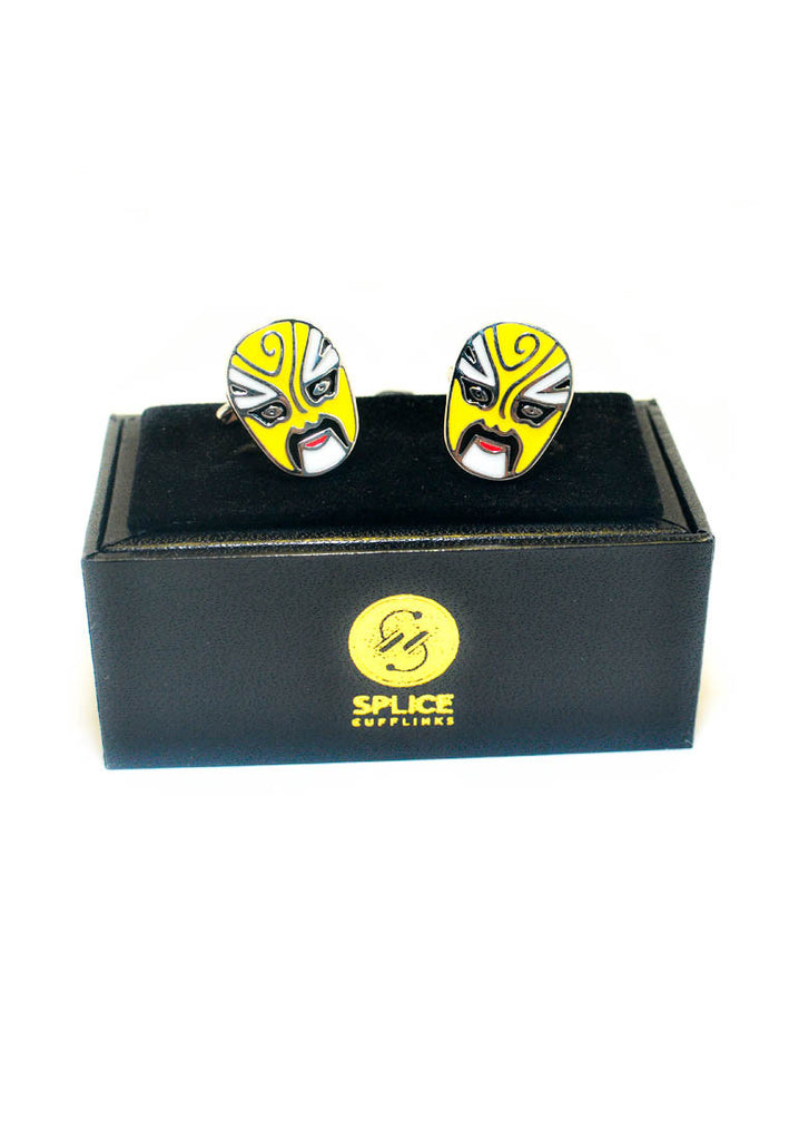 Peking Opera Mask Yellow Cufflinks