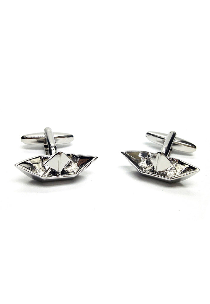 Fun Paper Boat Style Rhodium Plated Cufflinks