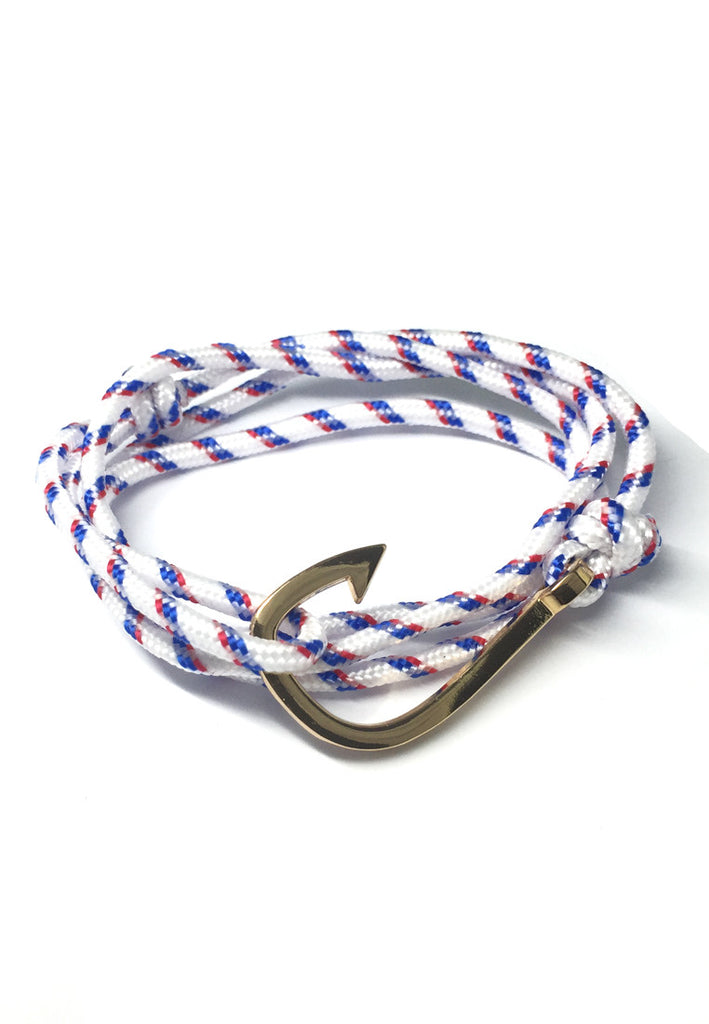 Angle Series Blue and Red Stripes White Polyester Strap Gold Fishing Hook Bracelet