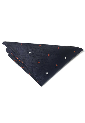 Dollop Series Orange and White Spots Navy Blue Polyester Pocket Square