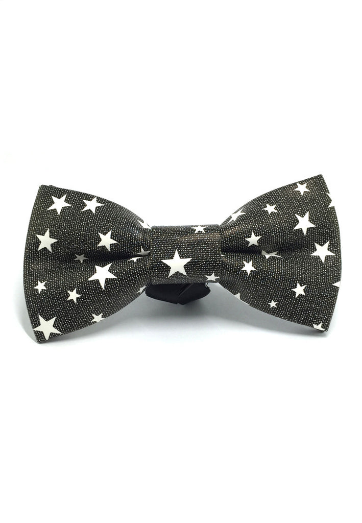Fluky Series Black & White Stars Design PU Leather Bow Tie