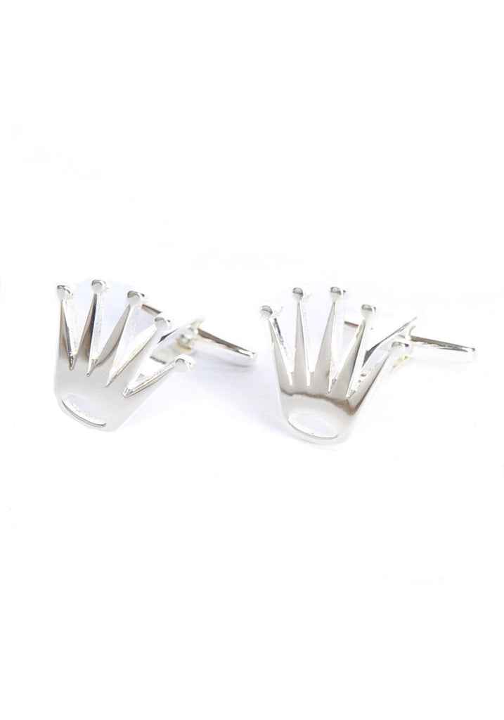 Silver Plated Spiked Crowns Cufflinks
