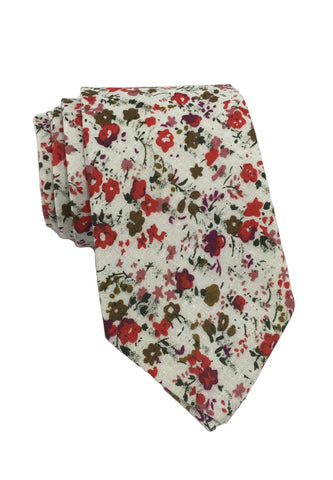 Featherweight Series Floral Design White Cotton Tie 2