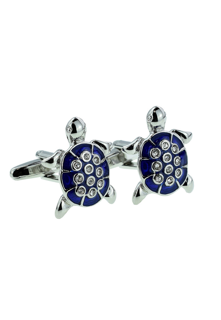 Blue Crystal Turtle Cufflinks
