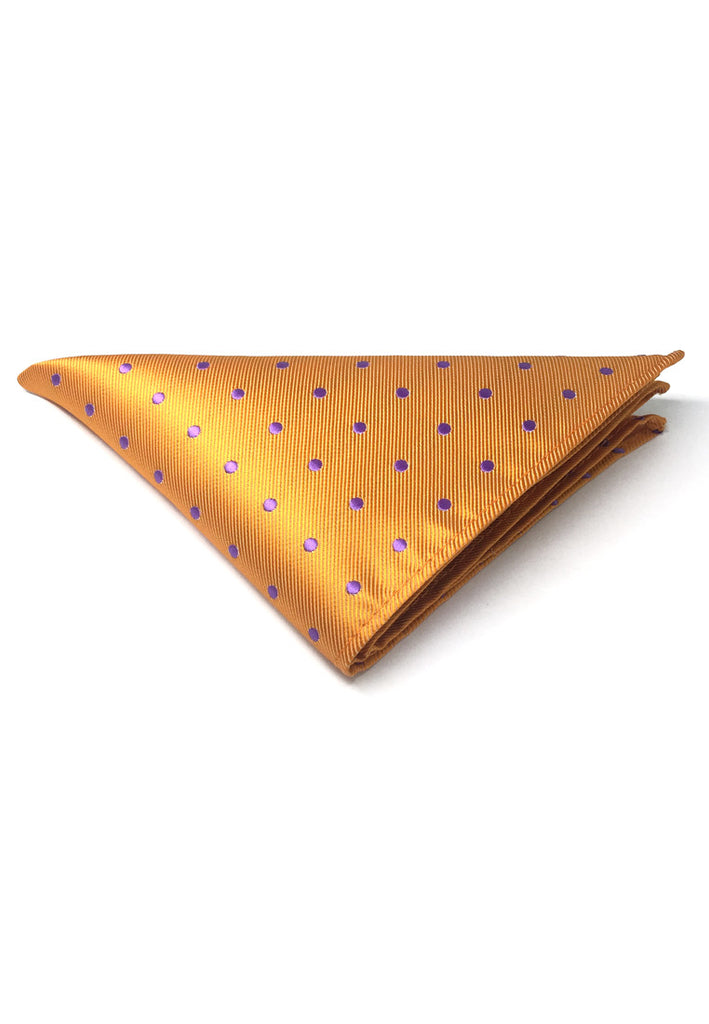 Dollop Series Purple Spots Orange Polyester Pocket Square