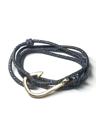 Angle Series Blue and White Spots Grey Polyester Strap Gold Fishing Hook Bracelet