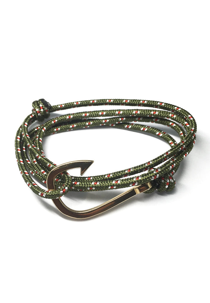 Angle Series Red and White Spots Army Green Polyester Strap Gold Fishing Hook Bracelet